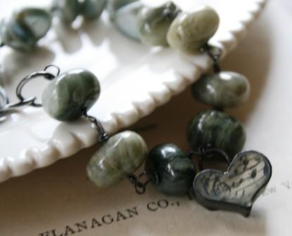 Greystoke Bracelet - Agate, Vintage Pearls, Oxidized Sterling Silver