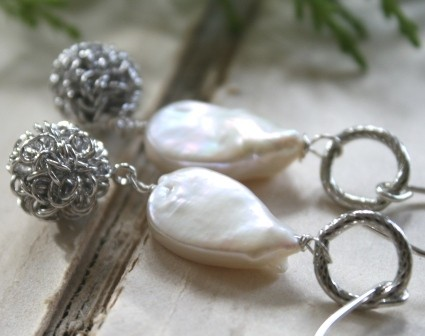Aspen Earrings - Sterling Silver, Fresh Water Pearl