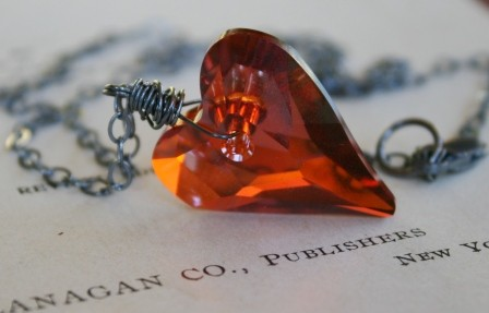 The BIG Crush Necklace - Swarovski Crystal Heart and Oxidized Sterling Silver