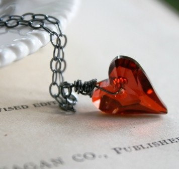 The Lil Crush Necklace - Swarovski Crystal Heart and Oxidized Sterling Silver