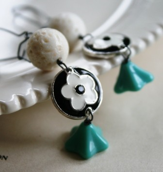 WEEDING OUT SALE - Cardiff Bay Earrings - Sponge Coral, Vintage Glass & Pendant Earrings