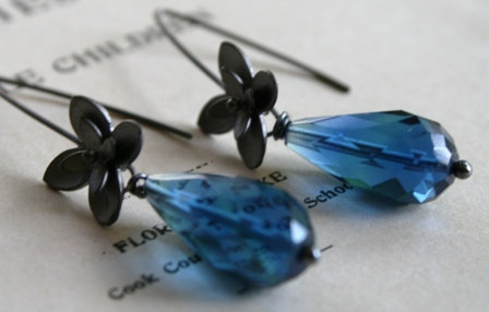 WEEDING OUT SALE - Walden Pond Earrings - Oxidized Sterling Silver and Quartz
