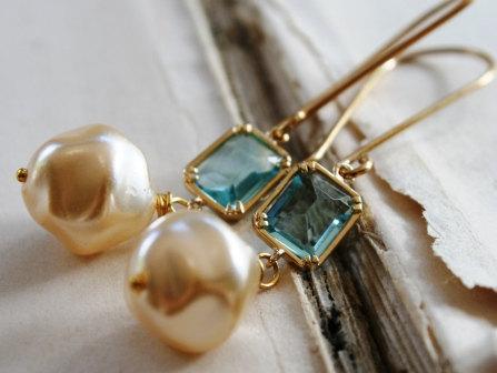 Brynn Earrings - Vintage Glass Pearls, Aqua Quartz Bezels and Gold