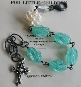 WEEDING OUT SALE - Les oeufs de Paques Bracelet - Vintage glass, Quartz, Pearl and Oxidized Sterling Silver