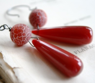 Pepperpot Earrings - Rusty Red Quartz, Carnelian and Oxidized Sterling Silver