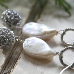 Aspen Earrings - Sterling Silver, Fresh Water Pearl